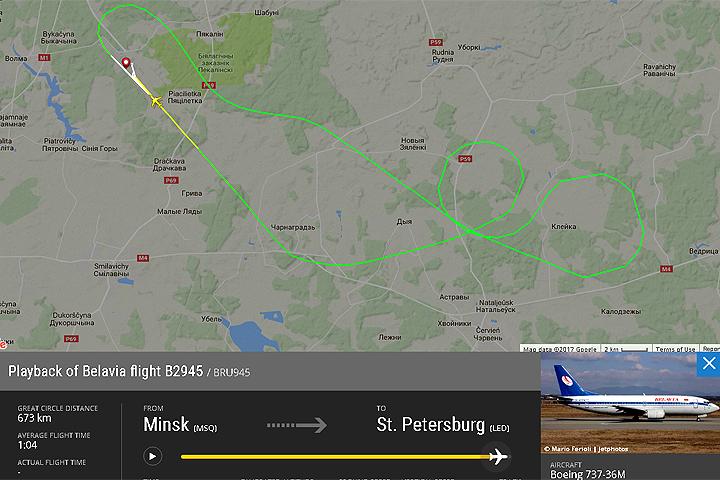 Летевший вПетербург самолёт вернулся вМинск из-за столкновения сптицами