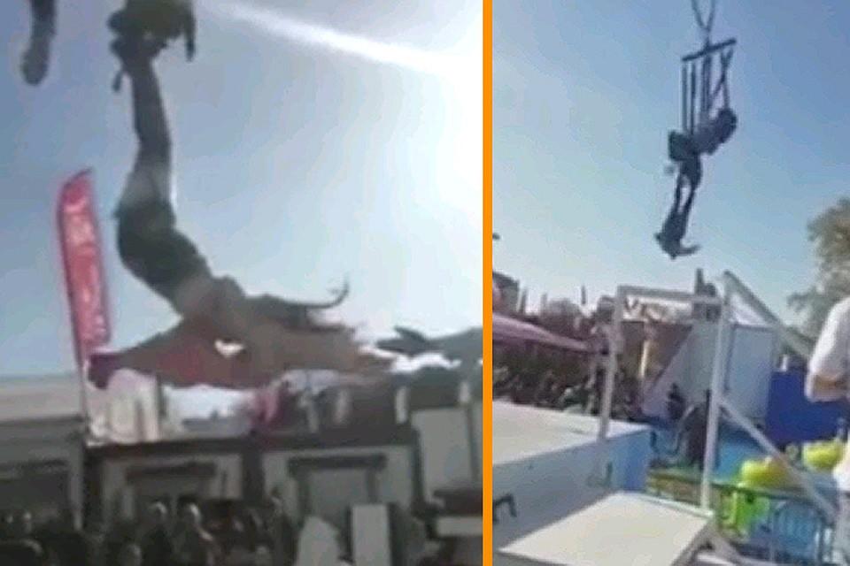 ВоФранции женщина повисла вниз головой накачелях вышиной 50 метров