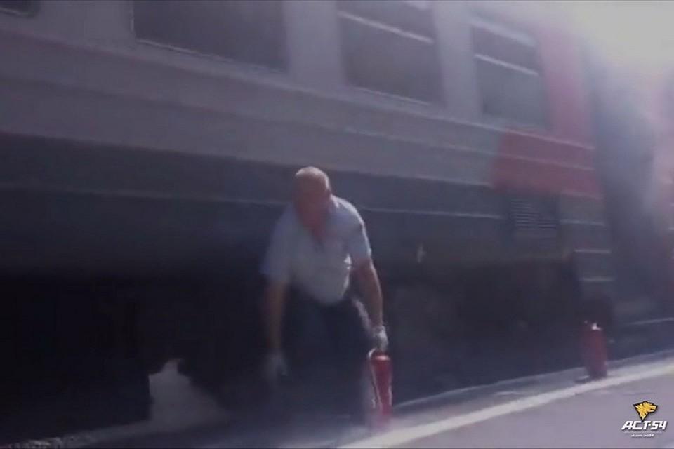 Навидео попало, как зажегся вагон электрички под Новосибирском