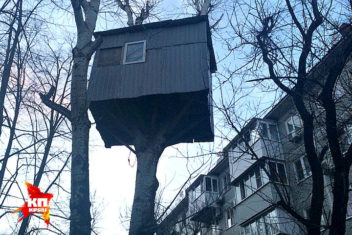 Расположился этот скворечник на высоте третьего этажа.