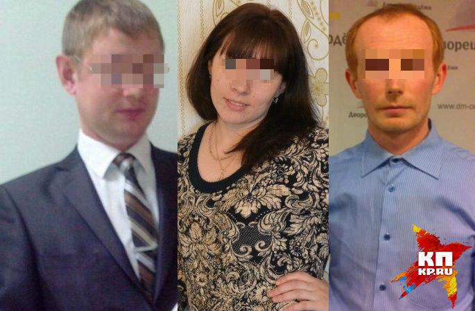Полицейский (слева), узнав, что его жена (в центре) изменяет ему с начальником (справа) убил его, а потом покончил с собой