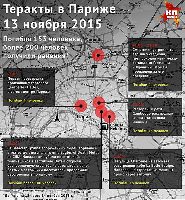 Карта парижских терактов 13 ноября 2015 г. Фото: Наиль ВАЛИУЛИН