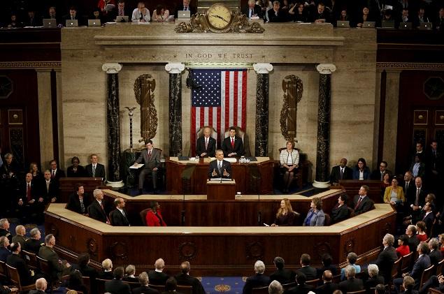 Главной темой послания президент США определил цели будущего Фото: REUTERS