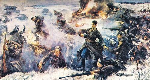 Так советский художник изобразил «Подвиг героев-панфиловцев», которого не было, а Москву в 1941-м защитили другие, настоящие, а не выдуманные герои.