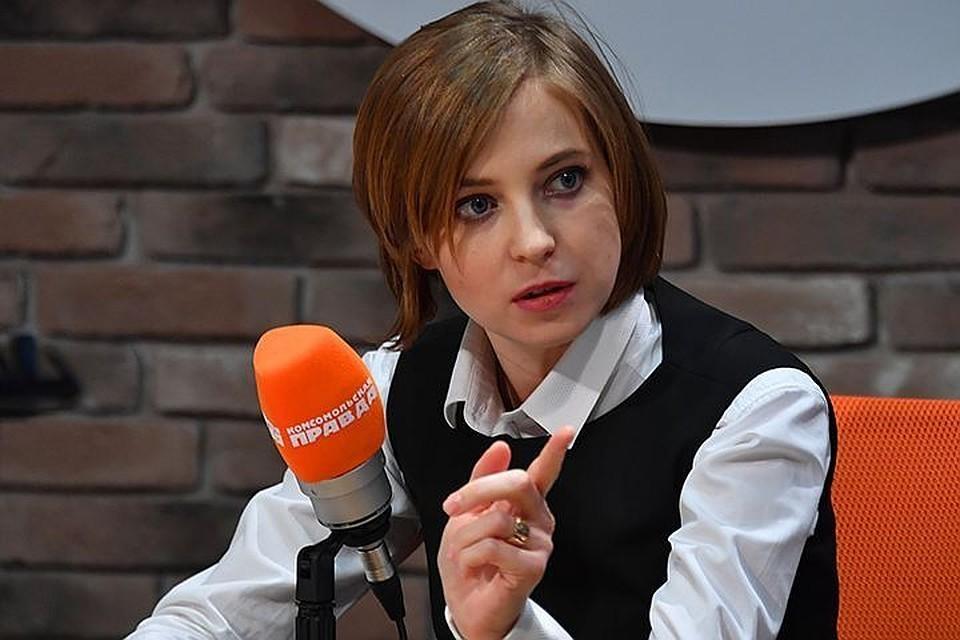 """Наталья Поклонская в студии радио """"Комсомольская правда""""."""