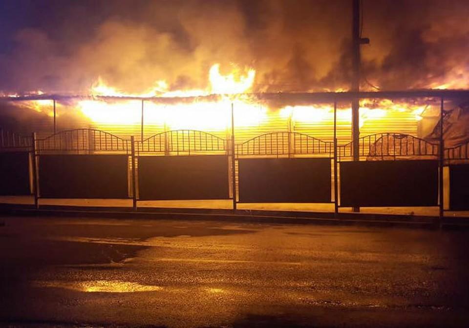 Пока пожарные не могут справиться с огнем.