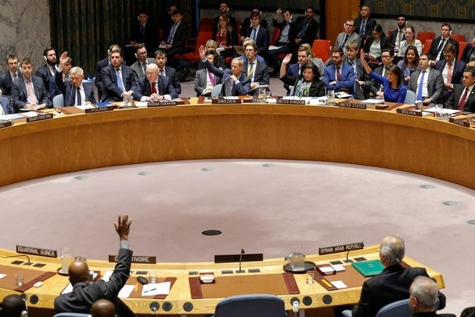 Ранее Совбез ООН отклонил российский проект резолюции, осуждающий удар США, Великобритании и Франции по Сирии