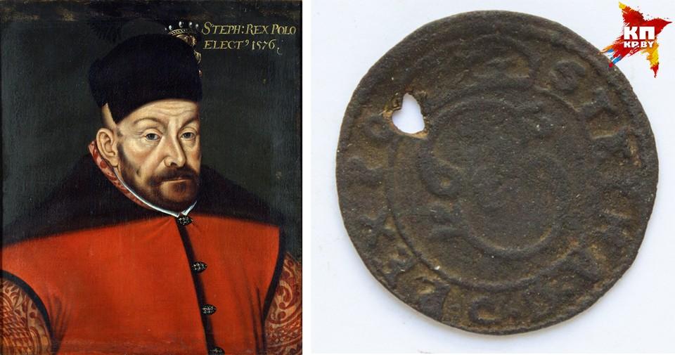 Этот фальшивый виленский солид короля Стефана Батория, судя по всему, не прошел проверку после пробивания там контрольного отверстия. Фото: Wikipedia.org; Национальный исторический музей