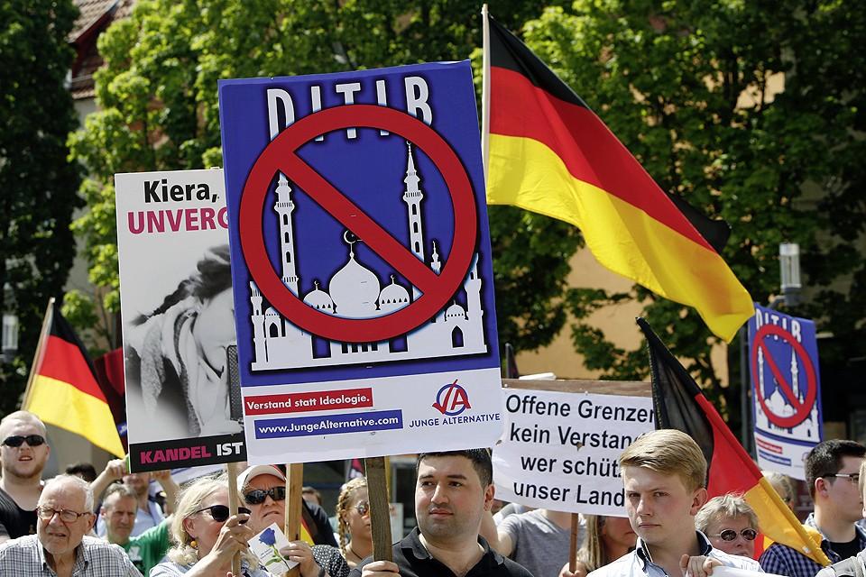 """Плакат на митинге партии """"Альтернатива для Германии""""."""