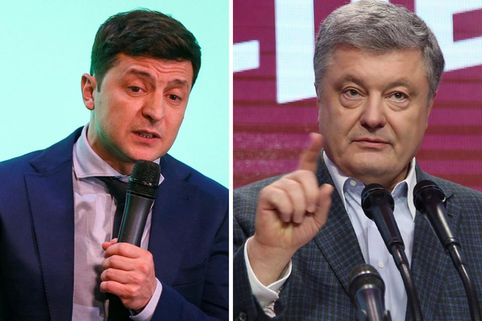 Комик Владимир Зеленский и глава государства Петр Порошенко сойдутся во втором раунде