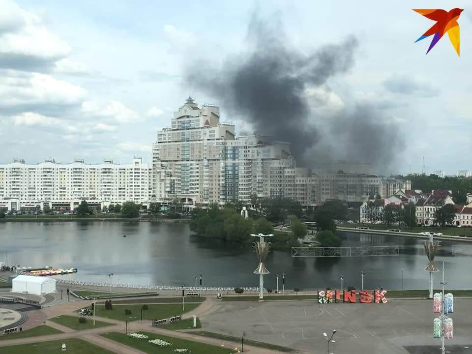 Чёрный дым и запах гари в центре Минска.