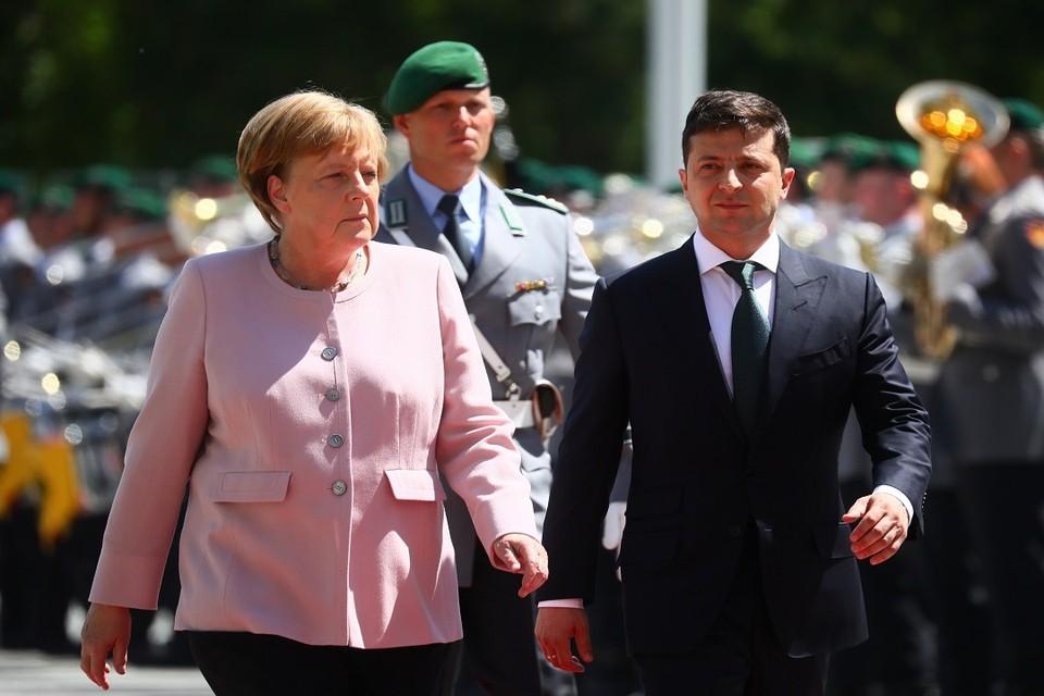 Канцлер ФРГ Ангела Меркель и президент Украины Владимир Зеленский