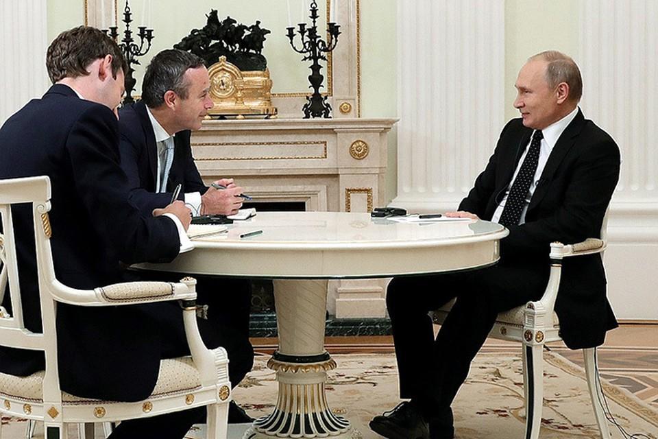 "Владимир Путин во время интервью ""The Financial Times"""