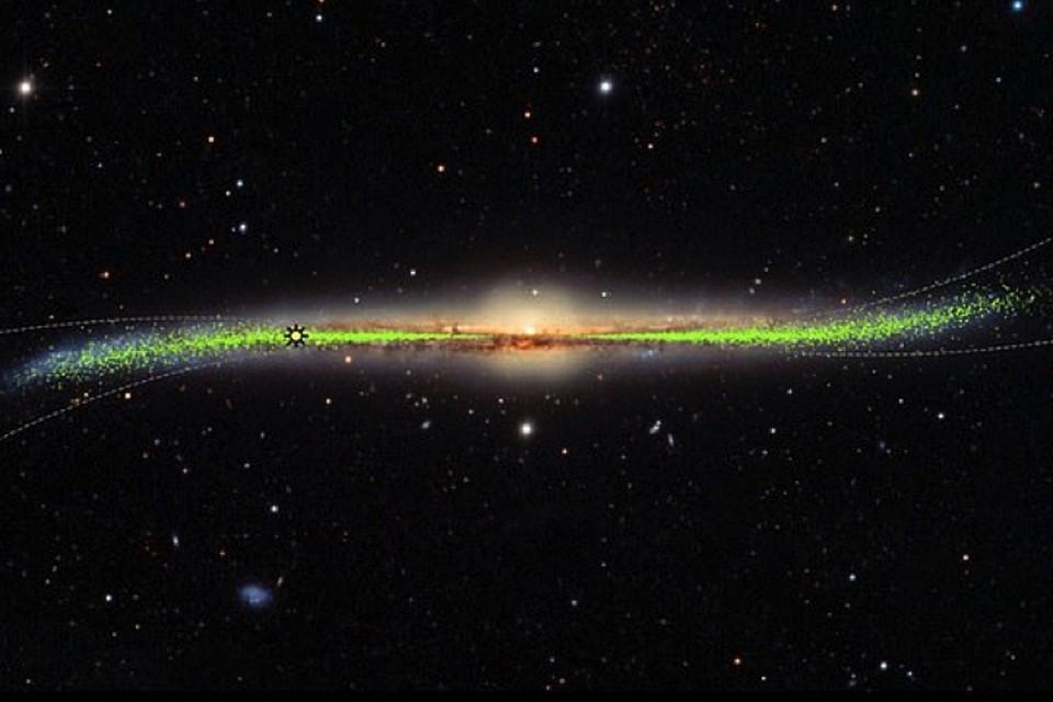Наша галактика Млечный путь: искривление сделало ее похожей на широкополую шляпу с загнутыми краями.