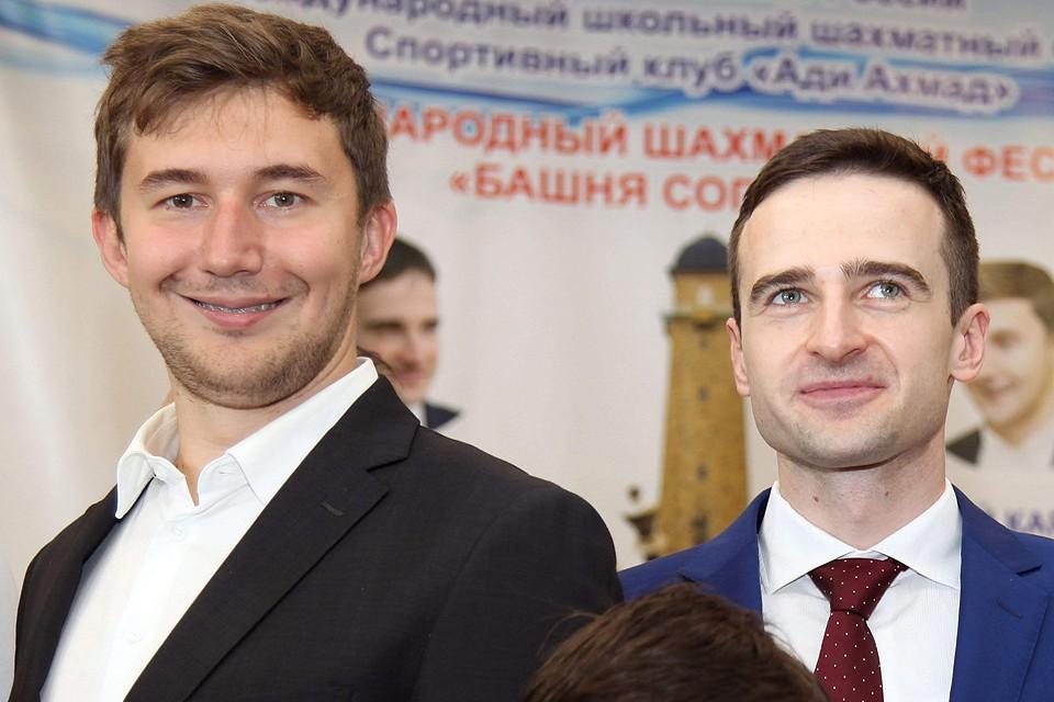 Слева направо: Сергей Карякин и Эрнесто Инаркиев. Фото: Владимир Барский