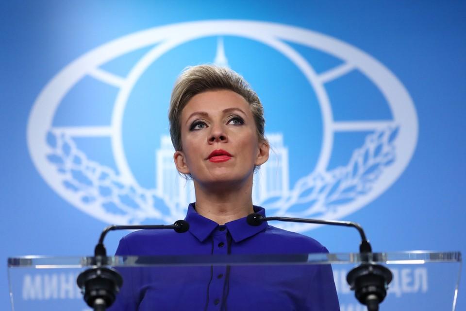 Официальный представитель МИД России Мария Захарова во время брифинга. Фото: Антон Новодережкин/ТАСС