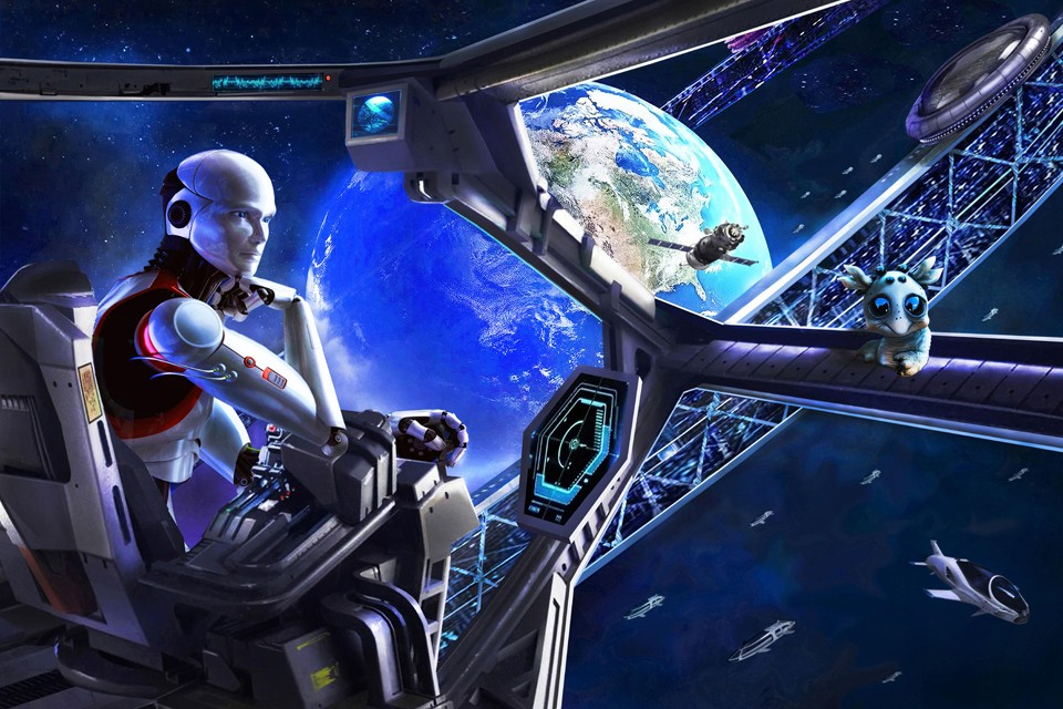 Пилот-андроид космического шатла на подлете к Орбитальному кольцу. Рисунок: Артур Скижали-Вейс