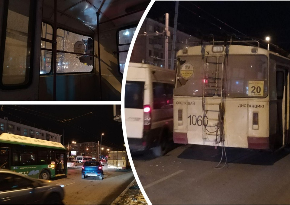 Автобус врезался в троллейбус на проспекте Ленина.