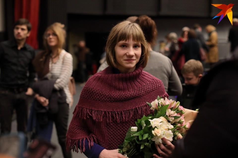 Настя Пляц после белорусской премьеры «Возера радасці» в кинотеатре «Москва»