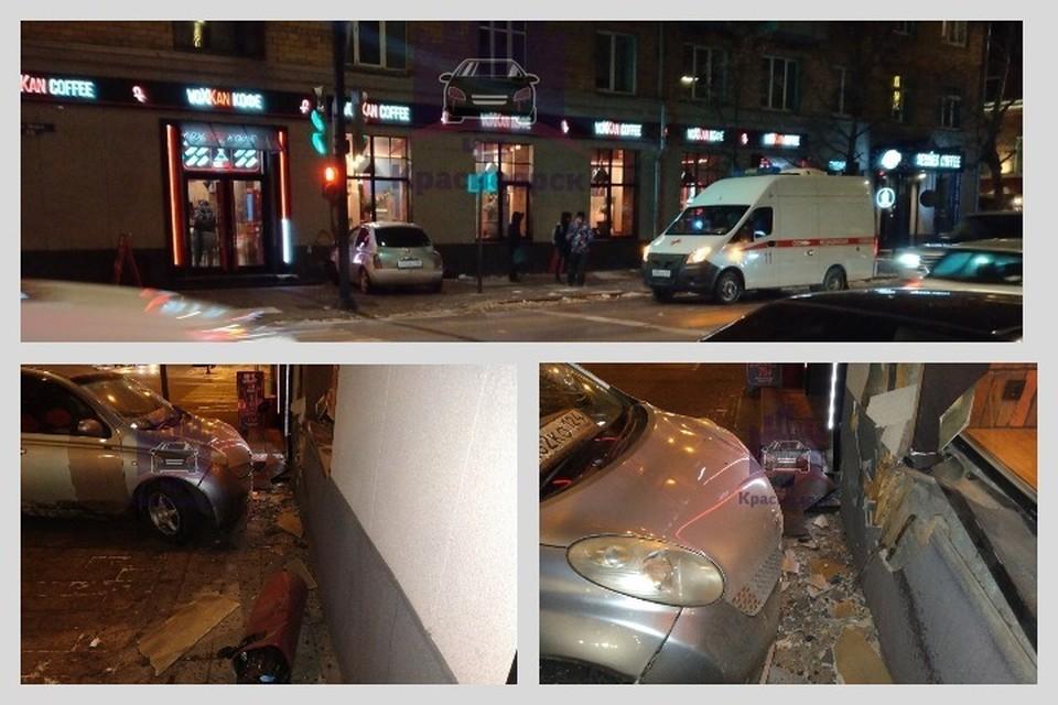 Уходивший от столкновения March влетел в кафе в центре Красноярска. Фото: ЧП - Красноярск.