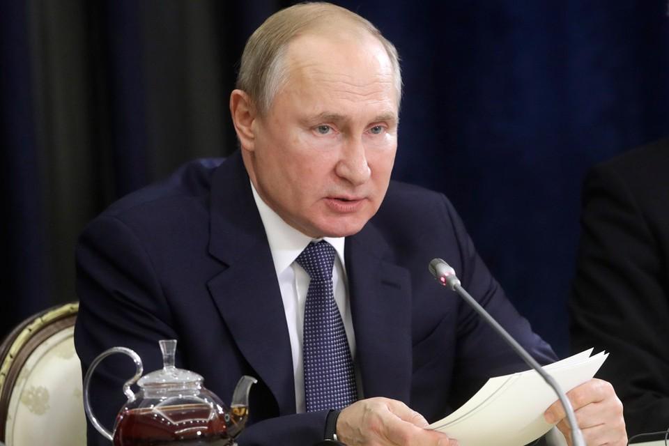 Президент РФ Владимир Путин во время встречи с представителями деловых кругов Германии. Фото Михаил Метцель/ТАСС