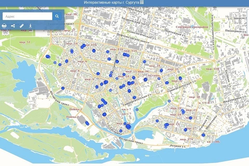 Сургутяне могут узнать, где повеселиться с помощью интерактивной карты. Скрин с портала