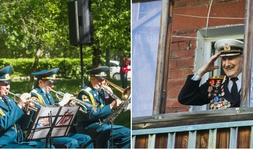 В Омске для одного ветерана устроили концерт и мини-парад