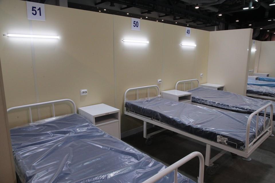 """В """"Ленэкспо"""" создали еще почти 500 мест для пациентов с коронавирусом. Фото: пресс-служба правительства СПб"""
