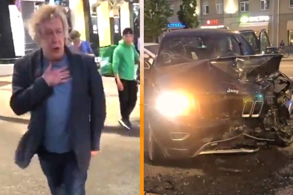 Актер Михаил Ефремов и его разбитый джип.