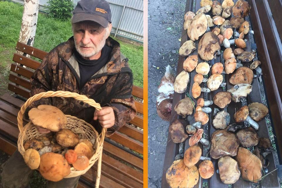 Евгений Черных и его грибные трофеи.