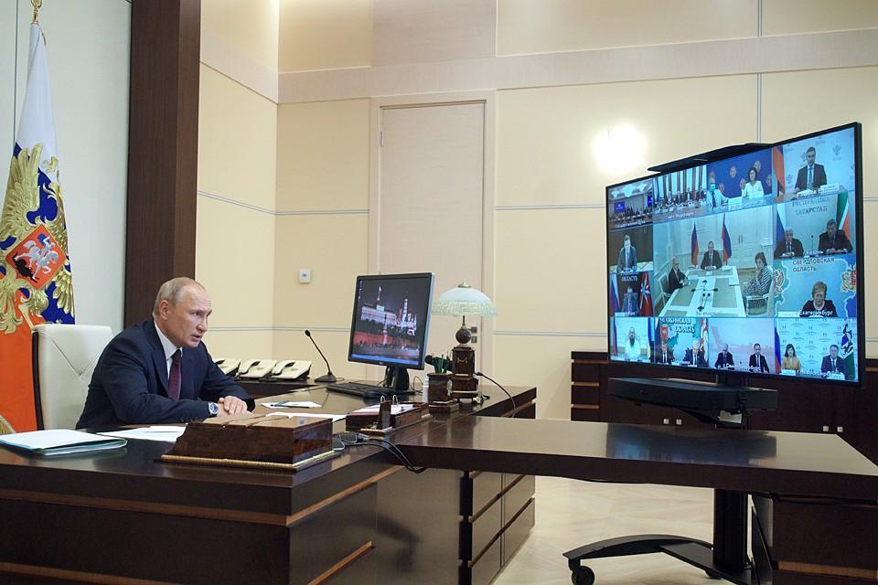 Президент поблагодарил еще раз всех за сделанный выбор и внесенные поправки. Фото: Алексей Дружинин/ТАСС