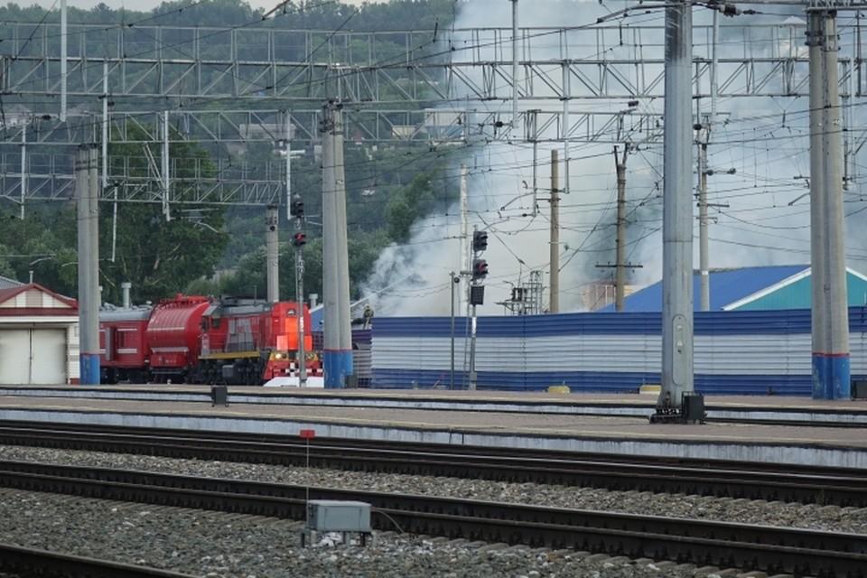 Пожар на территории вокзала в Новокузнецке: выгорела площадь в 500 квадратных метров