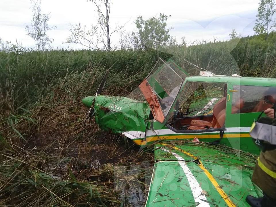 Самолёт сел в высокую траву. Фото: предоставлено очевидцами.
