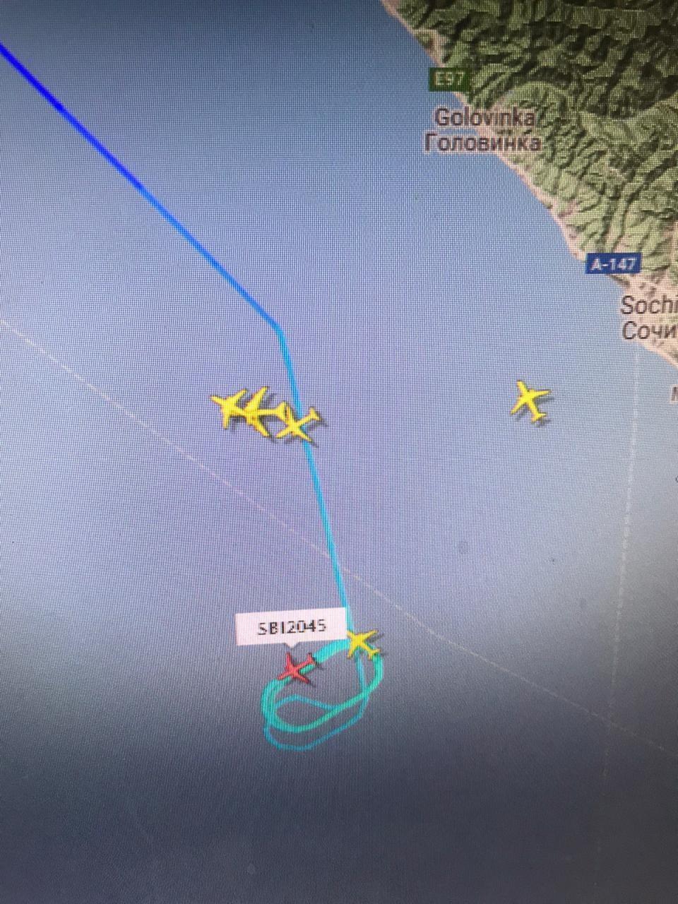 В аэропорту Сочи не могут приземлиться несколько самолетов. Фото Флайтрадар