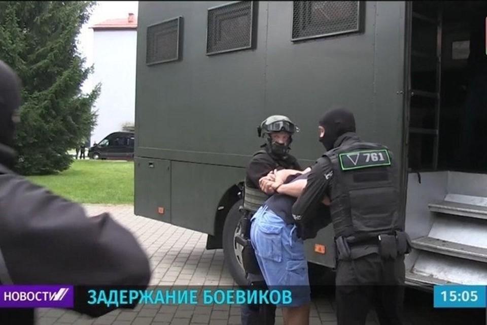 Задержанные под Минском боевики оказались россиянами из военной компании Вагнера. Кадр из видео.