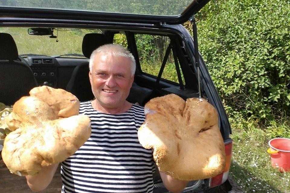 Владимир Круглов нашел в барнаульском Ленточном бору сразу два огромных гриба
