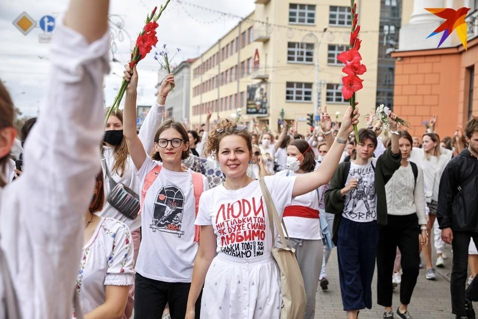 В Минске прошла женская акция солидарности против насилия.