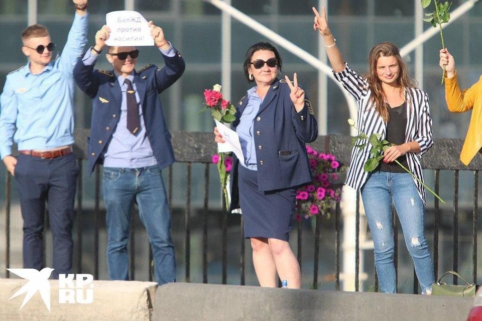 «Против насилия»: Сотрудники ЖД Белоруссии выстроились в «цепочку солидарности»