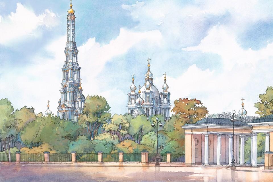 Высота пятиярусной башни должна была составить 170 метров.Иллюстрация:Юлия МИХАЙЛОВА.