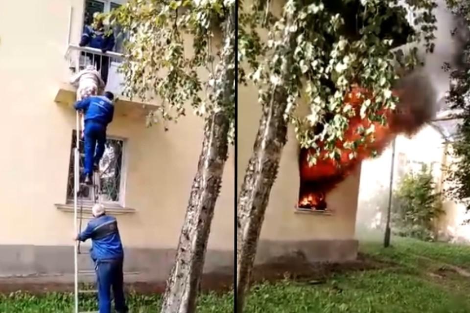 Очевидцы эвакуировали бабушку с горящего балкона в Волхове. Фото: vk.com/podslushano_volhov