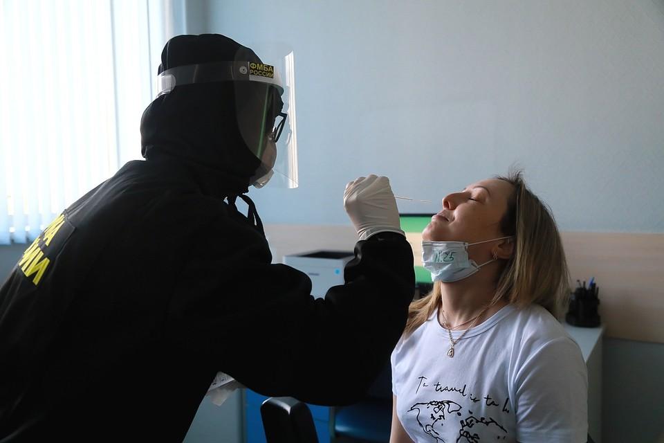 Тест на коронавирус в аэропорту Красноярска 2020.