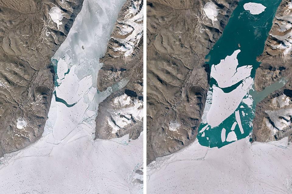 Комбинация снимков с таянием льда на арктическом побережье Гренландии за один месяц.
