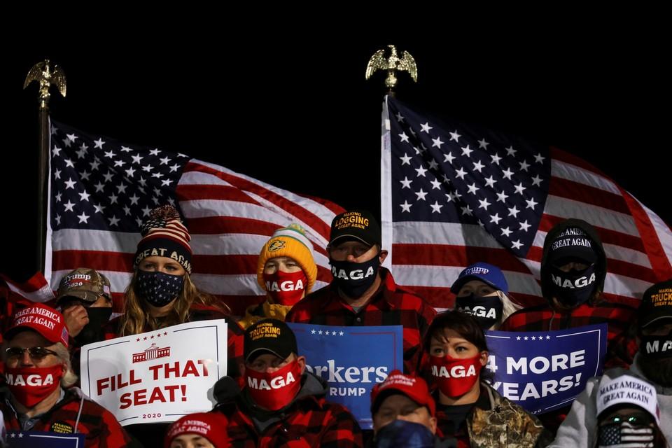 На предвыборном митинге Дональда Трампа в Миннесоте.