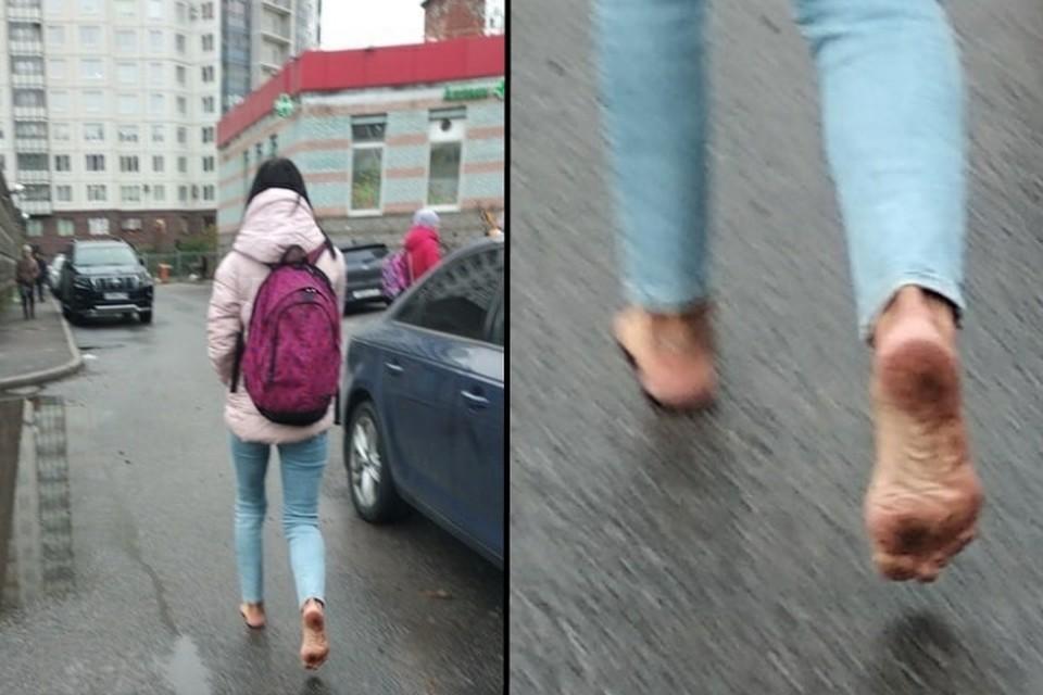 Босая петербурженка удивила прохожих на улице Оптиков. Фото: vk.com/sosedi_kvartala