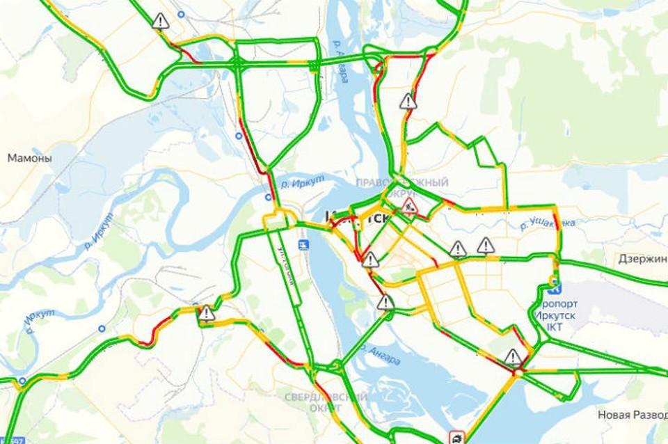 Пробки в Иркутске 20 ноября: в городе 8 баллов. Карта: ЯндексПробки.