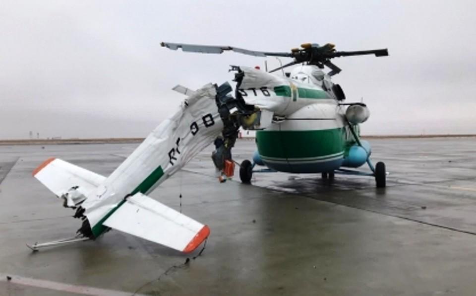 В аэропорту Волгограда вертолет снес световую опору