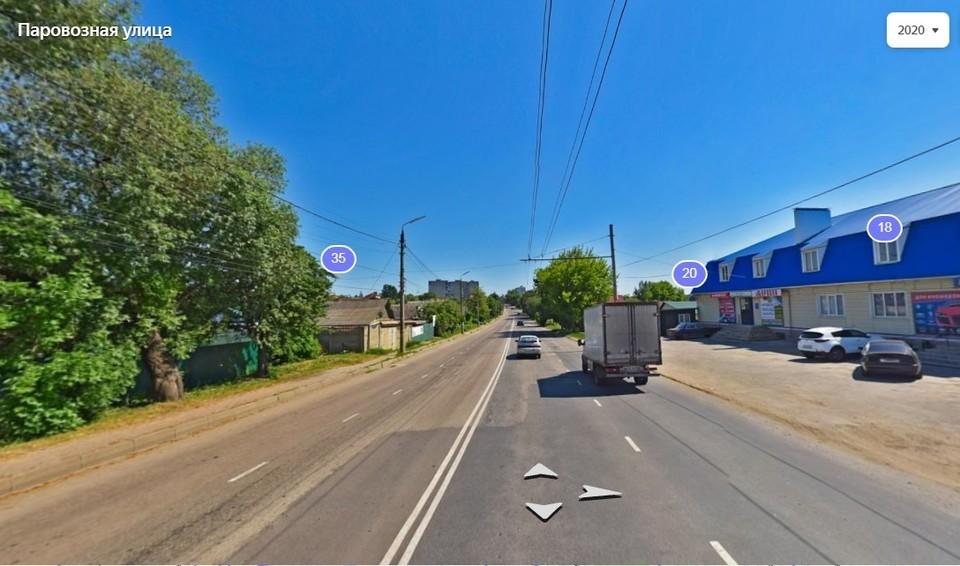 В Орле отремонтируют дорогу и тротуары на Паровозной улице. Скриншот Яндекс.карты