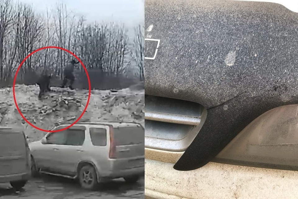 Двое детей разбили ледяным булыжником машину сибирячки, стоящую на парковке. Фото: Кадр из видео\ личный архив