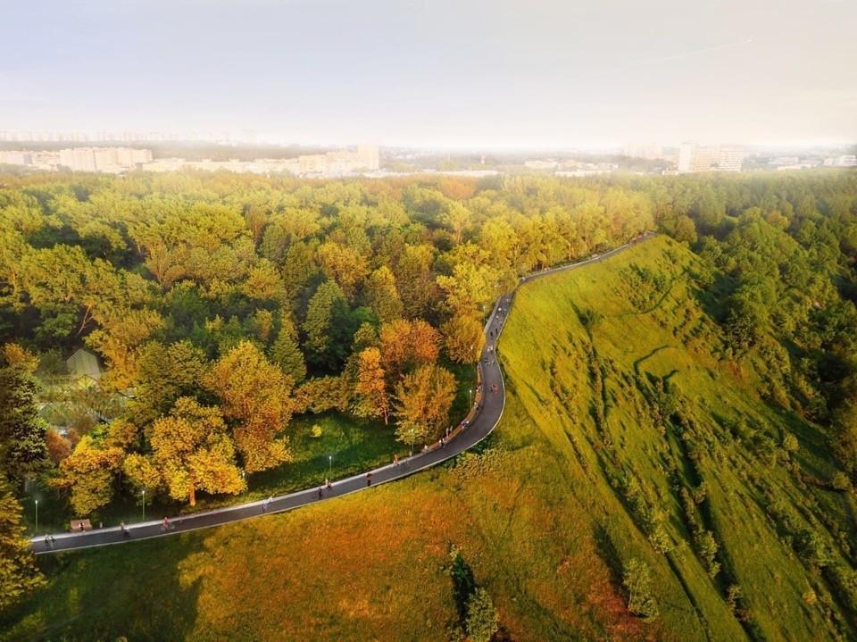 """Две 40-метровые обзорные скамьи установят в парке """"Швейцария"""" в Нижнем Новгороде. ФОТО: https://t.me/swisspark_nn/432"""