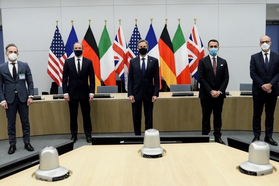 Госсекретарь США Энтони Блинкен и главы МИД Франции, Германии, Италии и Великобритании на
